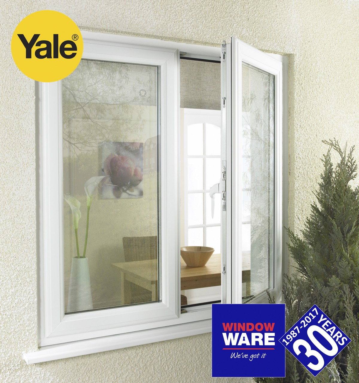 Window ware mow offers a secure locking system for french for Double glazing offers